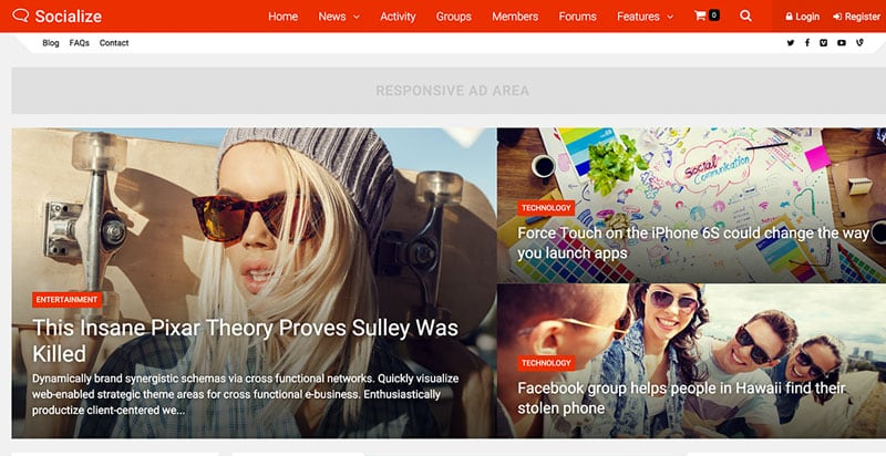 Socialize BuddyPress Theme