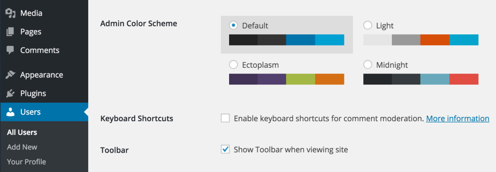WordPress Admin toolbar settings