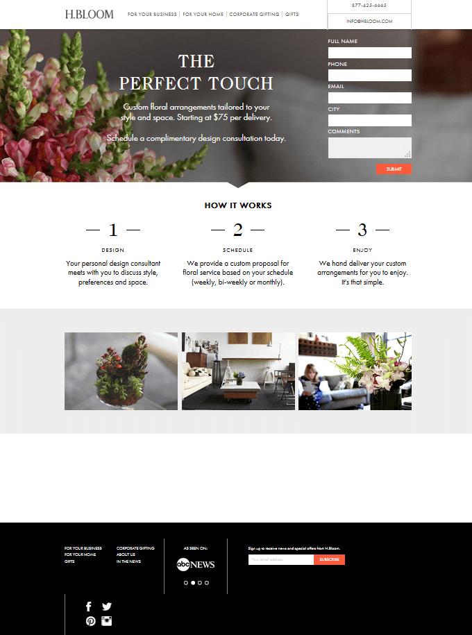 H. Bloom Landing Page
