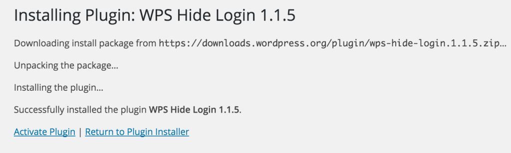 Activate WPS Hide Login Plugin