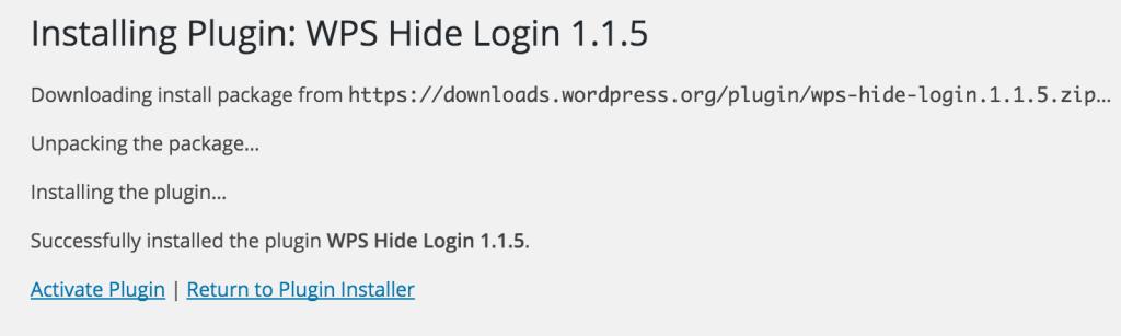 Activate WPS Hide Login Plugin