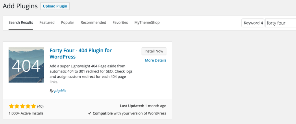 Install Forty Four 404 WordPress plugin