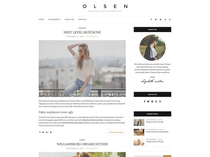 Olsen, Blogging theme, WordPress Theme