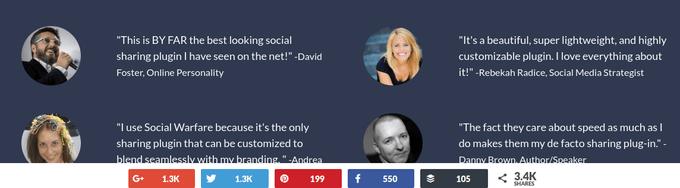 Social sharing button in the bottom bar