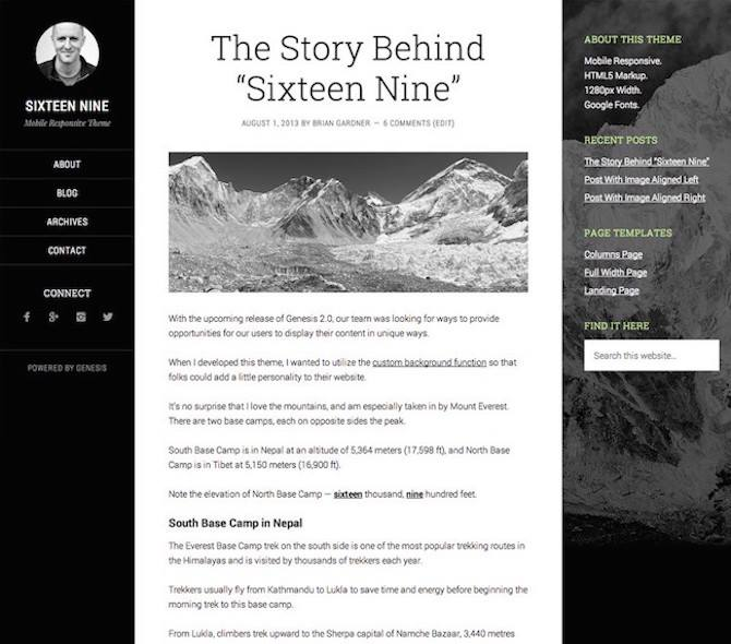 Sixteen Nine Pro, WordPress Theme, Blogging theme, bloggers