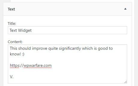 WordPress 4.8 Text Widget