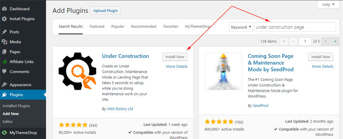 Install Under Construction Page Plugin