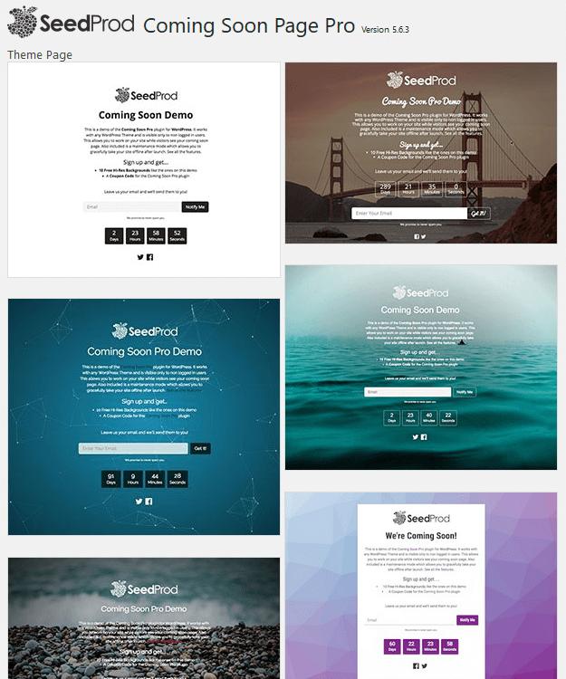 SeedProd - WordPress Coming Soon Plugin - Themes