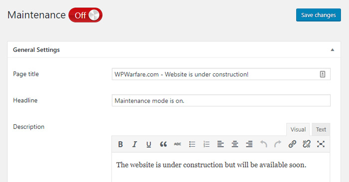Under Construction Page Settings