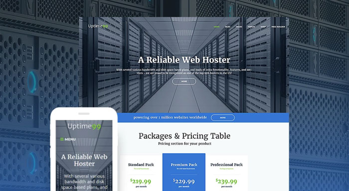 Uptime99 - Web Hosting Theme