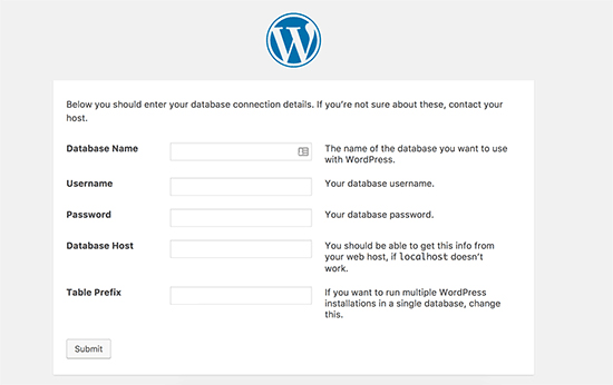 Adding Database info for WordPress