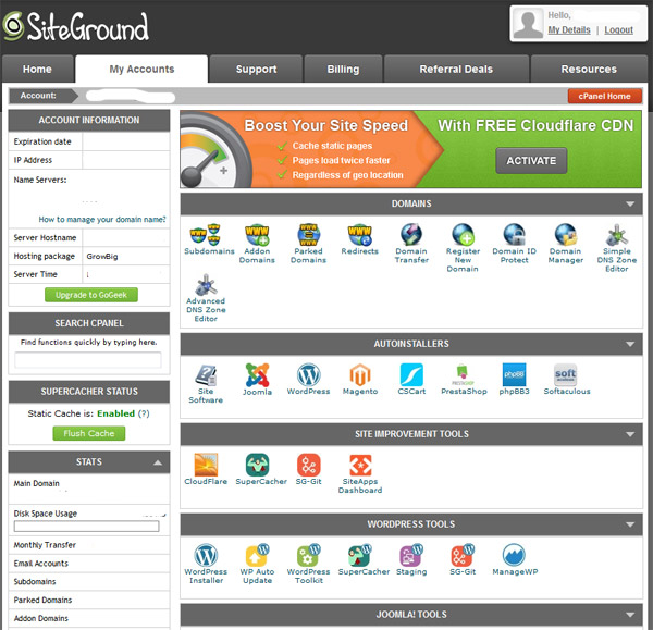 SiteGround User Interface