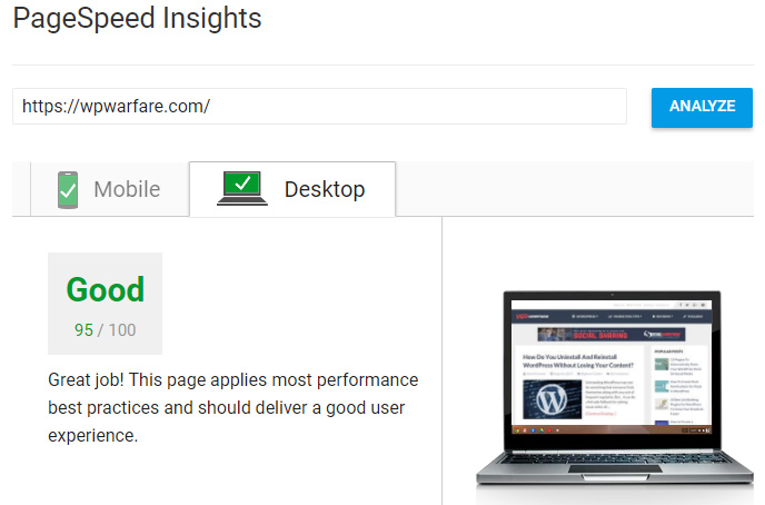 WPWarfare PageSpeed Insights Results