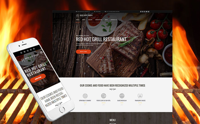 Red Hot Grill Restaurant WordPress Theme