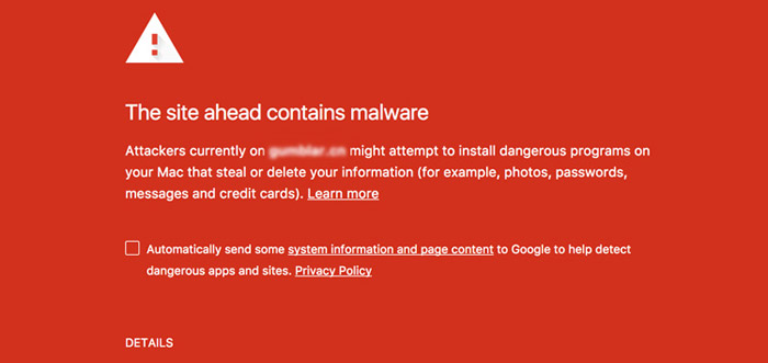 Website contains Malware Message