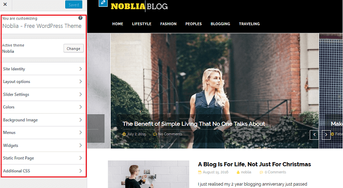 Noblia - WordPress Live Theme Customizer