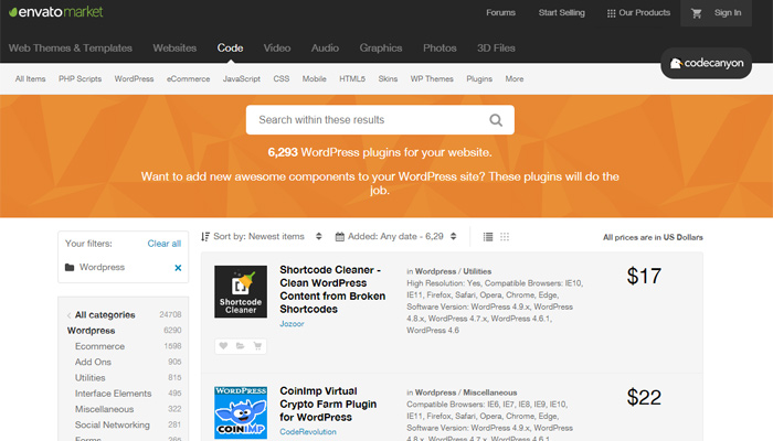 WordPress Plugins on ThemeForest