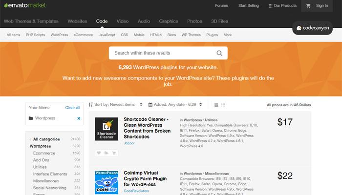 WordPress Plugins on ThemeForest