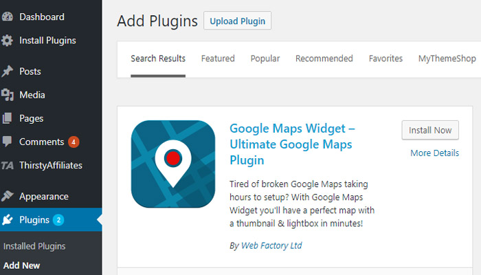 Install Google Maps Widget