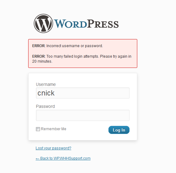 Unlock too many failed login attempts WordPress
