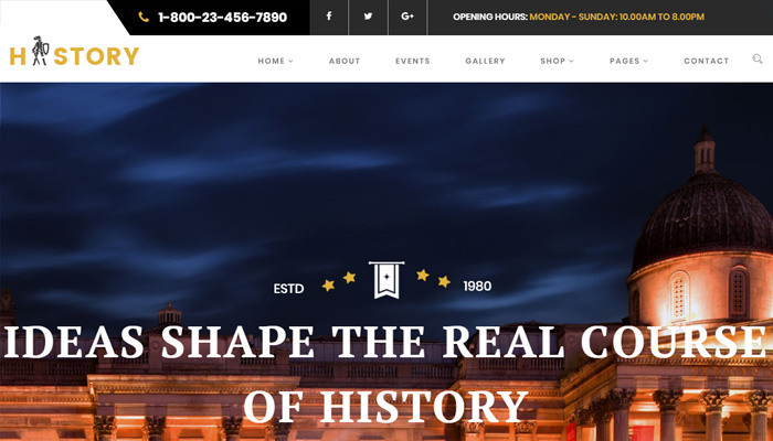 Archeology Museum Website WordPress Template