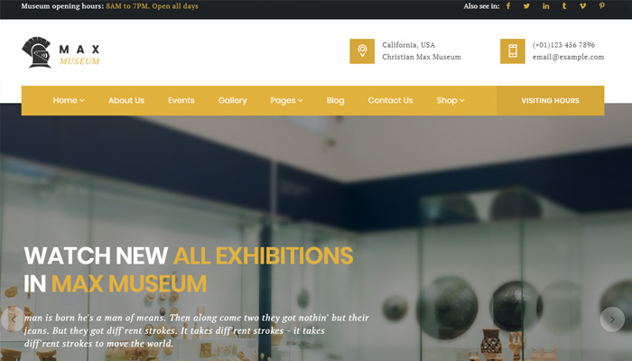 Front-Rank Museum Theme for WordPress