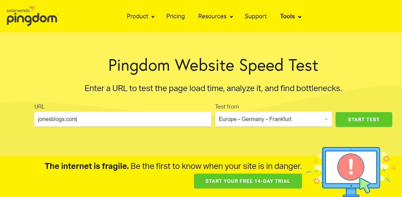 WordPress Page Speed - Pingdom